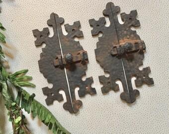 2 Door Latches AMAZING  Vintage HAMMERED Metal PRIMITIVE Latches