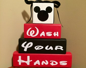 Mickey Mouse Minnie Mouse Wash Your Hands Wood Block Bath Set Home Decor  Bathroom Wood Sign Part 89