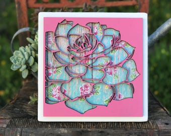 Mixed Media, Succulent, laser cut, wood sign, wood decor, succulent sign, floral, cacti, cactus, Mother's Day
