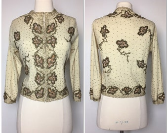 GENE SHELLY'S Gorgeous vintage 1950's beaded cardigan sweater