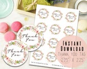 """2.25""""x 2.25"""" Round Pink Boho Floral Wreath Thank You Tag Printable - Digital Favor Tags - Boho Gift Tag - Birthday Tags - Instant Download"""