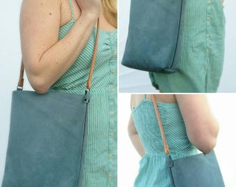 Blue leather tote.  Simple, small, handstitched leather tote bag.  Blue designer suede, small leather book bag, purse
