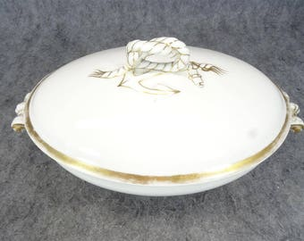 Vintage Haviland Limoges Footed Oval Vegetable Tureen Covered Dish C. 1880