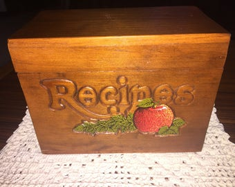 Vintage large wooden recipe box