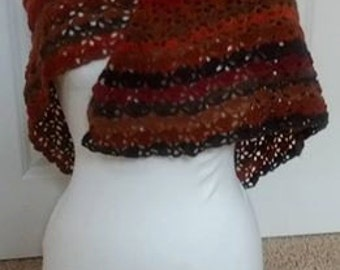 Warm crochet Autumn wrap/shawl.