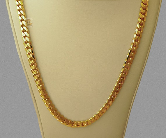 14k solid gold handmade miami cuban curb link 14k gold miami s cuban curb link chain necklace heavy