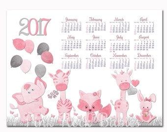Animal calendar etsy - Calendrier chinois bebe 2017 ...