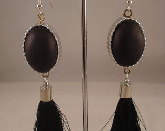 Black and silver bead and tassel earrings
