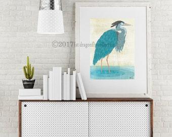 Blue Heron art print. Blue Heron poster. Nautical print. Coastal Print. Bird art for home decor. Nautical decor. Gift for him. Gift for her.
