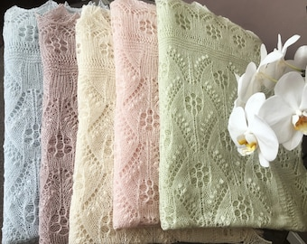 100% Cashmere Natural White/Pink/Blue/Beige/Green Pastel Handknitted Traditional Estonian Lace, Haapsalu Shawl FREE SHIPPING