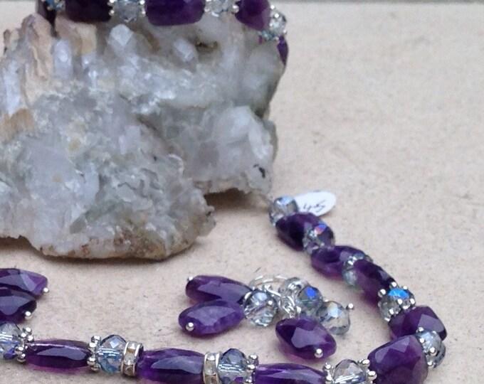 Amethyst necklace, amethyst & Swarovski crystal necklace, amethyst and silver, amethyst jewellery, silver necklace with amethyst beads