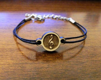 Wooden bracelet treble clef music note sheet music