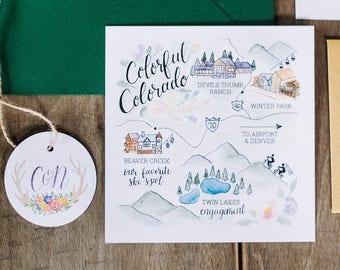 Custom Painted Map Design - Wedding Invitation Insert - Unique