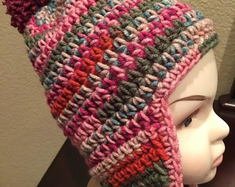 Girls Ear Flap Beanie Hat... 1-3 years old