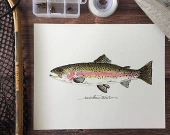 PRINT, Rainbow Trout, Fish, Freshwater fish, fish painting, trout painting, fly fishing, 8x10, 11x14, art print