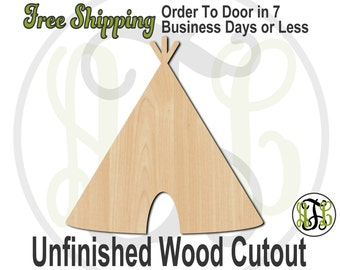 "Teepee- 3"" to 6"" Minis- No. 170020- Small Wood Cutout, unfinished, unpainted, wood craft, laser cut, wooden blank, DIY, Free Shipping"