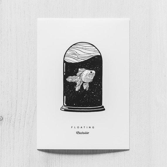 Poster Art Print - Floating Blackwork Series A5 Size - Fish Sea Stars ...