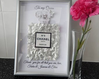 Chanel picture,Personalised Glitter picture Chanel no 5 with lots of silver glitter butterflies,silver chanel perfume picture,Chanel glitter