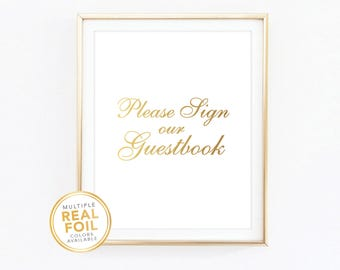 Please sign our guestbook, Wedding decor, Wedding signage, Gold wedding, Silver wedding, Gold foil, Silver foil, Wedding Decor
