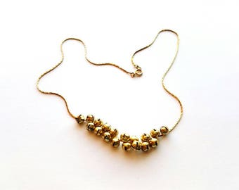 Handmade Gold Necklace with Gold Jingle Bell Beads Cluster Handmade By Cialeigh