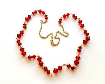 Gold with Red Raspberry Czech Glass Beads Handmade Hand Wire Wrapped Necklace Handmade