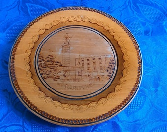 Vintage Carved Wooden Wall Plate Hand Made Vintage Plate Hand Carved Plate