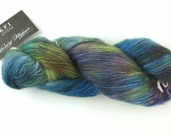 LOT OF 2 - KFI Luxury Mohair, mohair and silk knitting yarn, teal, green, plum, color 14