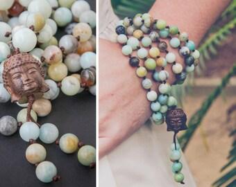 AMAZONITE BUDDHA MALA long necklace with a carved wooden Buddha // Buddha pendant / Buddhist mala / Yoga Necklace