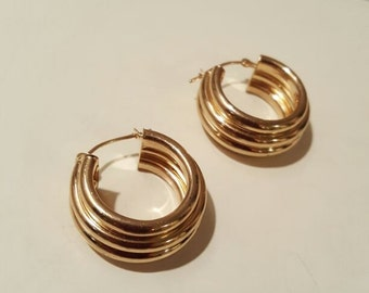 14k Gold Earrings Hoops 3.3g Vintage