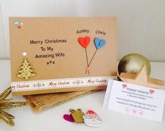 Handmade Personalised Wife Christmas Card - Personalised Girlfriend Christmas Card - Personalised Fiancee Christmas Card