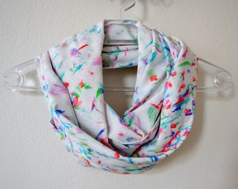 White Infinity Scarf with Colorful Brushstrokes Print, Summer Fashion, Women Accessories, Spring, Summer, Fall