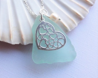 Scottish Sea Glass and Heart Necklace - Aqua Seaglass - Sterling Silver Beach Jewelry - HEARTS in HEART