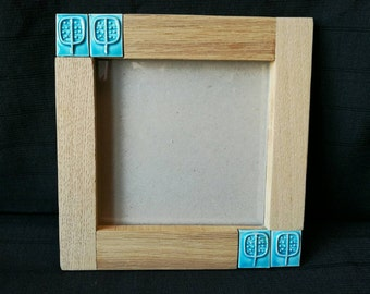 PHOTO FRAME (for the wall) tile turquoise and oak