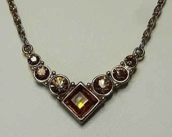 Vintage Necklace V Shaped Centrepiece w Large Square Centre and Graded Round Golden Amber Rhinestones Pretty Gold Tone Chain and Extender