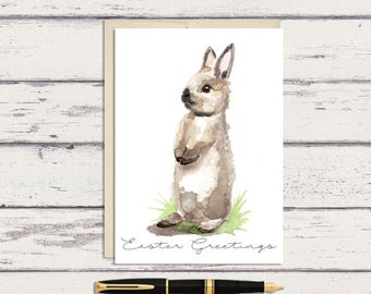 Easter Greeting Card / Curious Grey Bunny Rabbit Watercolor Art / A7 Greeting Card / Watercolor Bunny / Bunny Card / Easter Card
