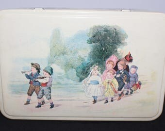Massilly France Vintage Hinged Metal Tin Box Illustrations of Children Playing Dress Up 1950's