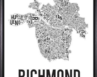 Richmond Virginia Neighborhood Typography Map