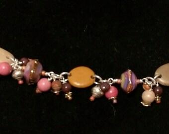 Twilight Bracelet Lampwork Glass, Sterling Silver, Beach Stone Bracelet