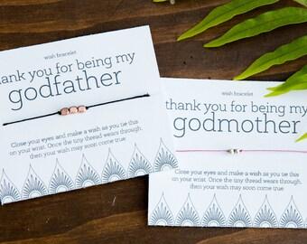 Godfather OR Godmother Wish Bracelet, Thank You Gift, Birthday Gift, Christmas, Easter, Family, Easy Gift Under 10, Godparent Gift, Baptism