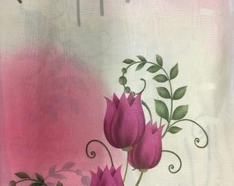 Chiffon Tulip Flower Print Ivory and Fuschia