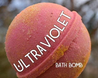 Ultraviolet Bath Bomb - moisturizing, fun, colorful, relaxing, lavender, jasmine, geranium and vanilla essential oils, glitter bath