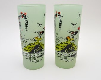 Pair of Vintage Southern Belle Glasses, Frosted Glass Tumblers, Lady with a Parasol, Pastel Green, circa 1960s