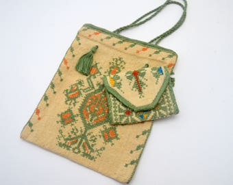 Vintage Andean Cross Stitch Tote Bag with Envelope Pouch, Bolivian Coca Leaf Bag, Chuspa, Boho Bag, Green and Orange, 1930s-1950s