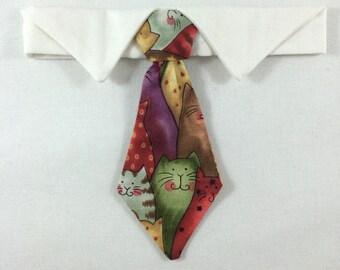 Cat Print Cat Necktie, Cat tie, Cat Necktie collar