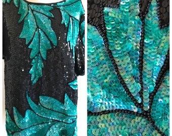 Vintage Large Iridescent Green leaf black sequin shirt, sequin top, vintage Scala, 100% silk