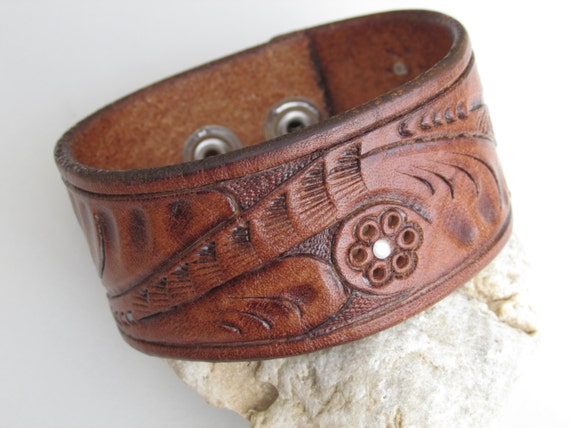 Leather cuff repurposed upcycled belt cuff western jewelry Repurposed leather belts