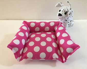 American girl pet bed dog bed cat bed 18 inch doll pet bed pink with white dots