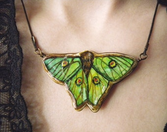 Graellsia isabelae Green Butterfly Clay Necklace