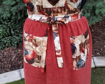 Handmade Rooster Print Bib Apron with a Rust Colored Terry Cloth Skirt and Co-ordinating Pockets  FREE SHIPPING