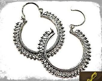 Crunchy Fashion Earrings, Oxidized Silver Earrings, Fashion Earrings, Casual Wear Earrings, Large Earrings,Filigree Earrings